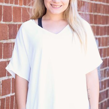 {White} Simplicity Loose Fit Blouse Basic
