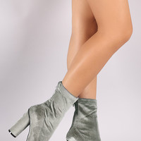 Crushed Velvet Pointy Toe Round Heeled Ankle Boots