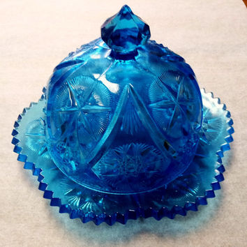 Unique Teal Blue covered butter dish for sale
