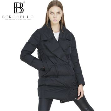 BEROBELLO High Quality Women Winter Jacket Medium Long Big Turn down Collar Duck down Coat Warm Outwear Female 2017 Hot Sale