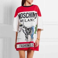 Moschino Women Fashion Print Long Tunic Shirt Top Blouse-4
