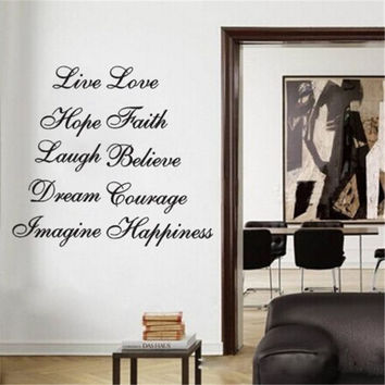 Live Faith Imagine Courage Ten Positive Words Wall Quote Decal