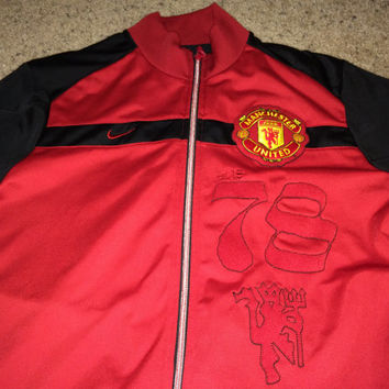 Sale!! Vintage Nike Manchester United FC Soccer track Jacket MUFC Football Jersey Rare England Shirt Free US Shipping