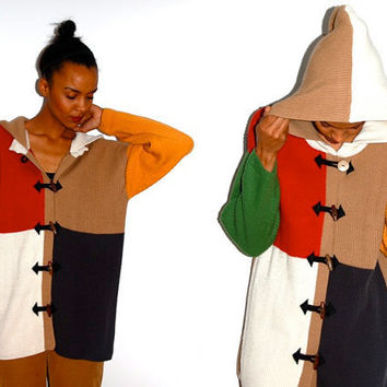 Vtg Color Block Toggle Button Down Hooded Cardigan by LuluTresors