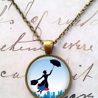 Mary Poppins Necklace, Steampunk, Vintage, Literary Characters, Literature, Whimsical T473
