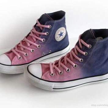 DCKL9 Ombr¨¦ dip dye Converse All Stars, pink, purple, blue, upcycled vintage sneakers, high