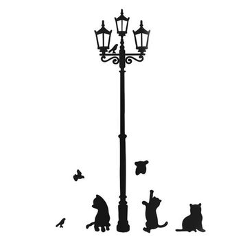 Sweet Home Cats Street Lamp Lighs Stickers Wall Decal Removable Art Vinyl Mural Decal Decor SHY