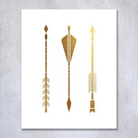 Three Arrows Foil Print Tribal Aztec Bohemian Boho Chic Decor Metallic Poster Modern Wall Art 5 inches x 7 inches