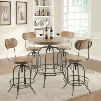 Wooden Top Round Adjustable Bar Table, Warm Brown