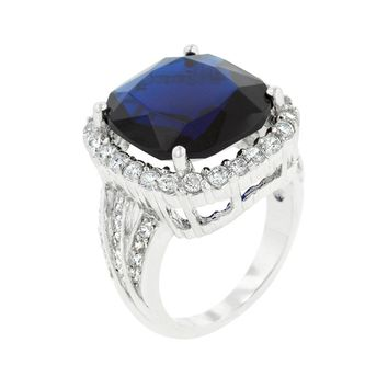 Deep Blue Sapphire Engagement Ring Size 7