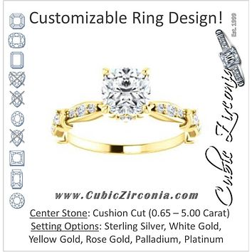 Cubic Zirconia Engagement Ring- The Willow (Customizable Cushion Cut Artisan Design with 3 Kinds of Round Cut Accents)