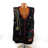 Ugly Christmas Sweater Vintage 1980s Tacky Holiday Cardigan Vest Party Women's size 2X Plus size