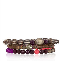 Burgundy Mix Stretch Bracelet Set