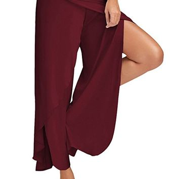 Women Cropped Pants High Split Flowy Layered Yoga Palazzo Pants