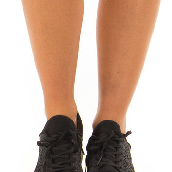 Onyx Sparkle Lace Up Sneakers with Waffle Knit Pattern