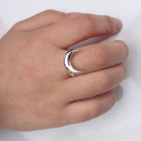 Adjustable Crescent Moon Ring