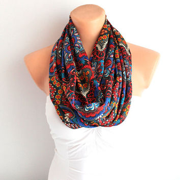 Infinity Scarf Loop Scarf Circle Scarf Cowl Scarf Multicolor