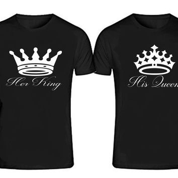 Her KING - His QUEEN T-shirts + Your NAMES or another text on the back