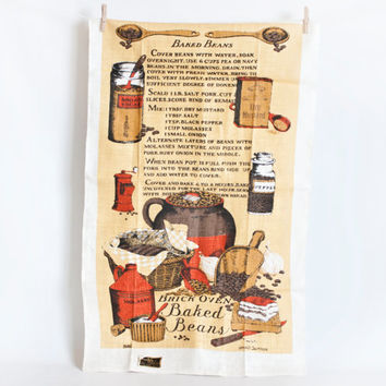 Vintage Recipe Linen Tea Towel, Baked Beans Kitchen Towel, 100% Linen, KayDee Hand Prints, New With Tag