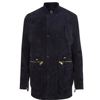 River Island MensNavy Design Forum suede jacket