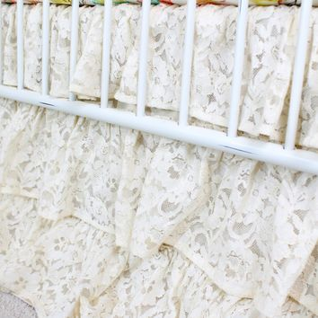 Waterfall Ruffle 3 Tier Crib Skirt | Vintage Lace Ivory