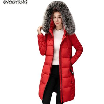 2017High Quality White duck down Winter Jacket Coat Long Style Heavy Hair Collar Thickening Coat Hooded Women Slim Parka Q781