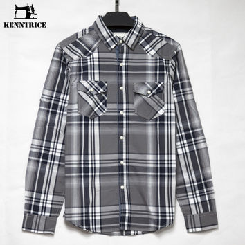 New Plaid Men Shirts Casual Slim Long Sleeve Spring Autumn Plaid Men's Dress Shirts Thin Casual Shirt Popular