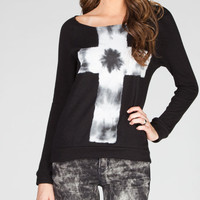 Full Tilt Tie Dye Cross Womens Slash Back Tee Black  In Sizes
