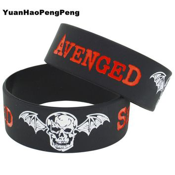 25pcs/lot 1 Inch Wide Silicone Wristband Avenged Sevenfold Rubber Bracelet New Metal Style Mucic Band