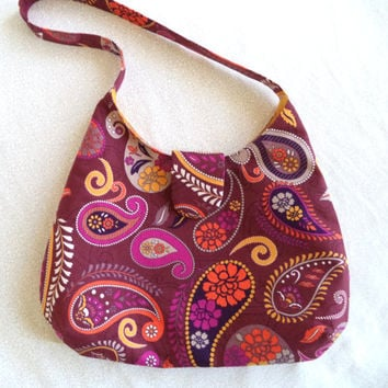 Burgundy paisley boho purse/ cute little bag/ funky paisley print hobo bag by Boho Rain