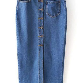 Blue Single Breasted Denim Pencil Skirt with Pocket
