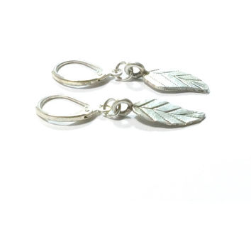 Sterling Silver Leaf Earrings ,  Leaf Charm Earrings , Sterling Silver Lever Ear Wires