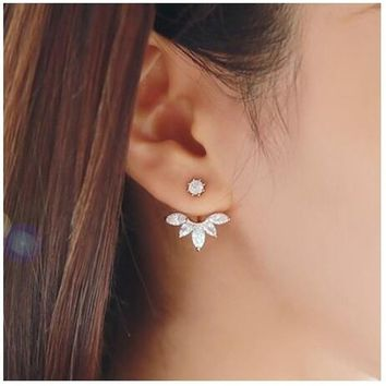 Women cute Fashion Gold Plated Leaf Crystal Ear Jacket Double Sided Swing Stud Earrings