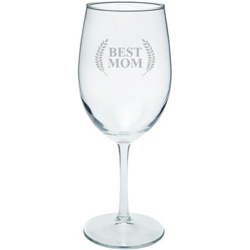 Mother's Day - Best Mom Laurel Etched White Wine Glass