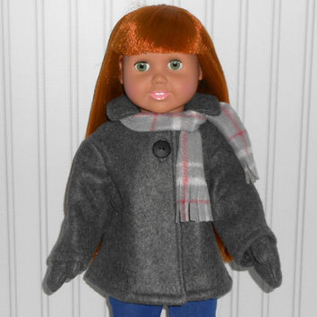 18 inch Girl Doll Clothes Dark Gray Coat Fleece Jacket with Mittens and Plaid Scarf American Doll Clothes