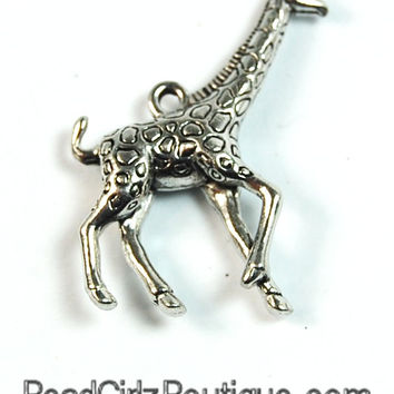 Large Giraffe Silver Pewter Charm -1