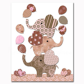 Elephant nursery art Pink brown baby girl room wall decor baby shower decorations gift kids artwork children poster playroom print toddler