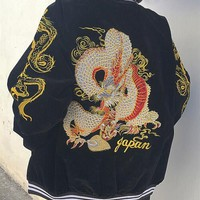 Harajuku Punk Japanese Style Jacket Yokosuka Embroidery Dragon Zipper Bomber Baseball Jacket Lovers Jacket