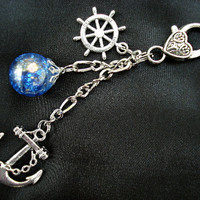 Nautical Anchor Rich Fried Marble Rudder Blue Love Keychain