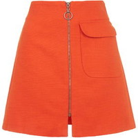 Textured Patch Pocket A-Line Skirt - Tomato