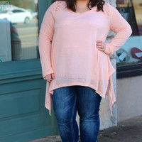 Crochet Babe Peach High-Low Top {Curvy}