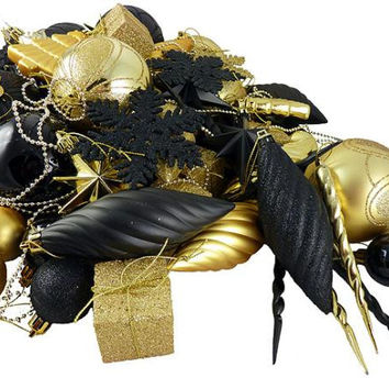 125 Christmas Ornaments - Black And Gold