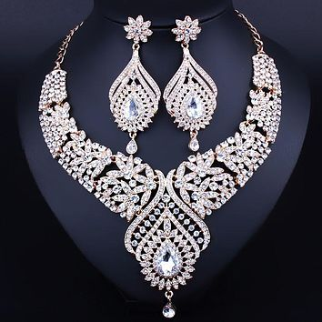 Wedding Jewelry Silver Plated Peacock Feather Shaped Necklace and Earrings Set Fashion Crystal Rhinestones Bridal jewelry sets