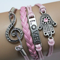 Musical note charm bracelet,love bracelet,Hamsa hand bracelet,Bridesmaid gifts,Friendship gift