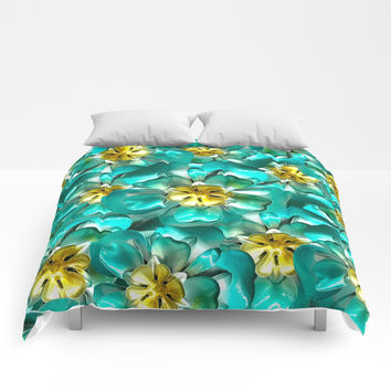 Golden Cyan Greens Comforters by deluxephotos
