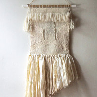 SOLD - Woven Wall Hanging: Tapestry Weaving in Neutrals with Wool Roving, Sari Ribbons and Linen Rope