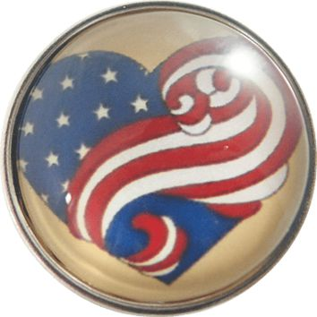"Snap Charm American Flag Swirl 20 mm, 3/4"" Diameter"