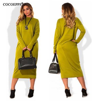 fashionable plus size casual women dress autumn winter solid Knee-Length Dresses big sizes women Long sleeve loose dress