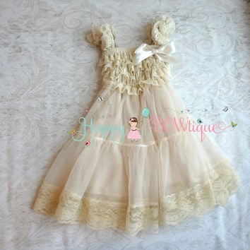 Champagne Babydoll Chiffon Lace Dress
