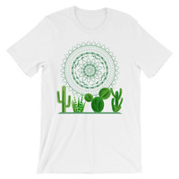 Cactus plants and mandala graphic Unisex short sleeve t-shirt